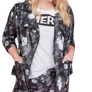 LANE BRYANT Floral Vegan Leather Jacket #EE15